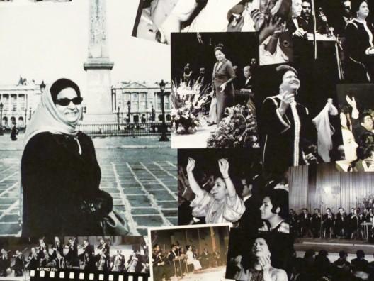 Collage con imágenes de Umm Kulzum en París
