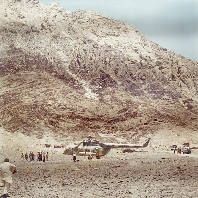 Vista general de las colinas de Chagai durante las pruebas «frías» de un artefacto de implosión nuclear llevados a cabo por Pakistán en 1986