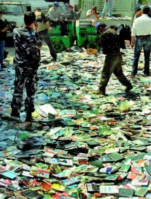 La policía libanesa destruye miles de CDs incautados tras varias redadas en centros de venta de material audiovisual pirata
