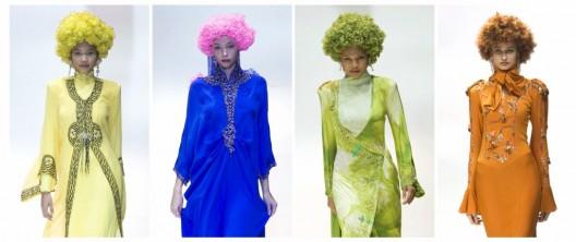 cuatro modelos luciendo distintas creaciones del diseñador malasio Fendy Armany