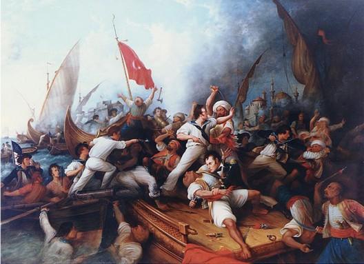 El teniente Stephen Decatur lucha contra un pirata a bordo del navío Tripolitano el 3 de agosto de 1804