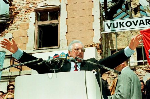 El presidente croata Franjo Tudman, durante un mitin